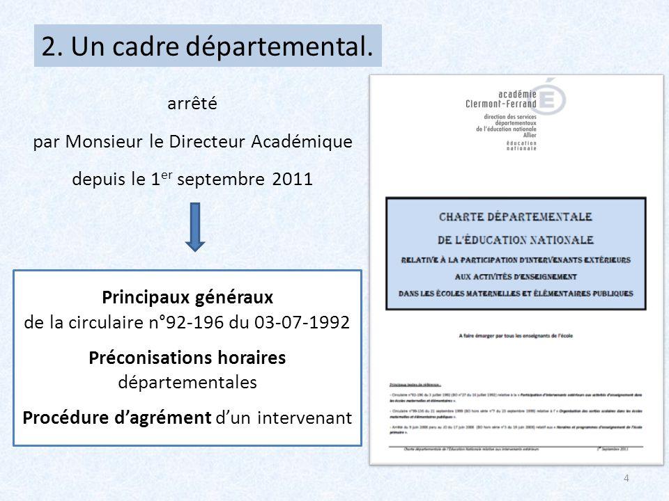 2. Un cadre départemental.