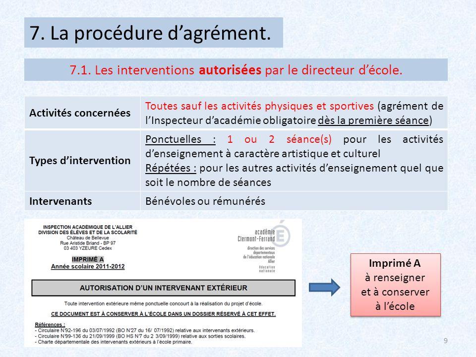 7.1. Les interventions autorisées par le directeur d'école.