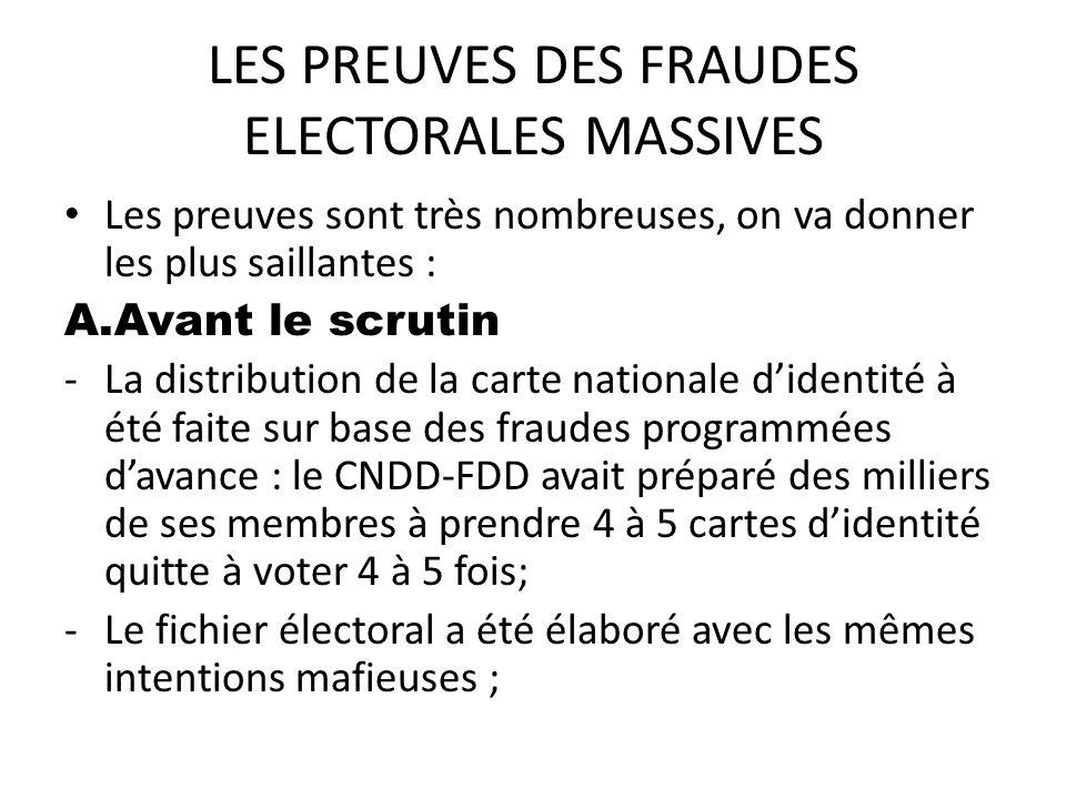 LES PREUVES DES FRAUDES ELECTORALES MASSIVES