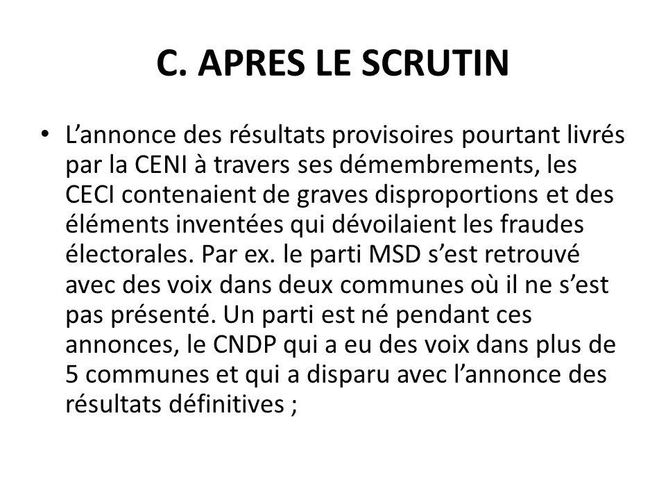 C. APRES LE SCRUTIN