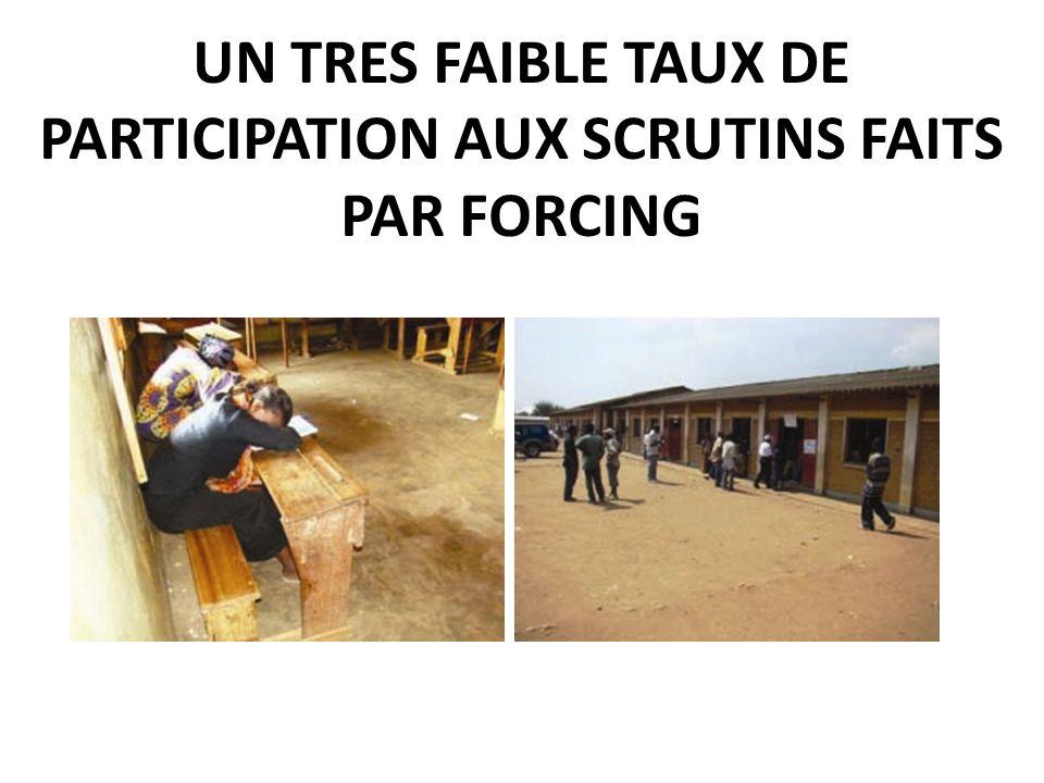 UN TRES FAIBLE TAUX DE PARTICIPATION AUX SCRUTINS FAITS PAR FORCING