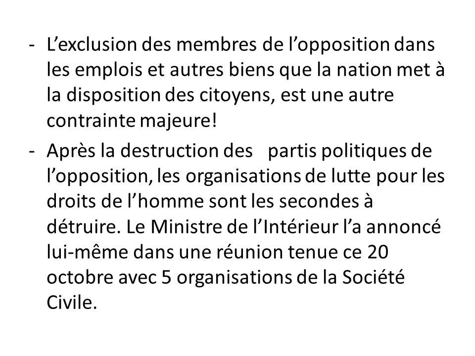 L'exclusion des membres de l'opposition dans les emplois et autres biens que la nation met à la disposition des citoyens, est une autre contrainte majeure!