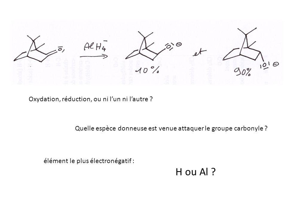 H ou Al Oxydation, réduction, ou ni l'un ni l'autre