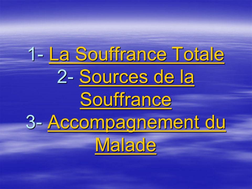1- La Souffrance Totale 2- Sources de la Souffrance 3- Accompagnement du Malade