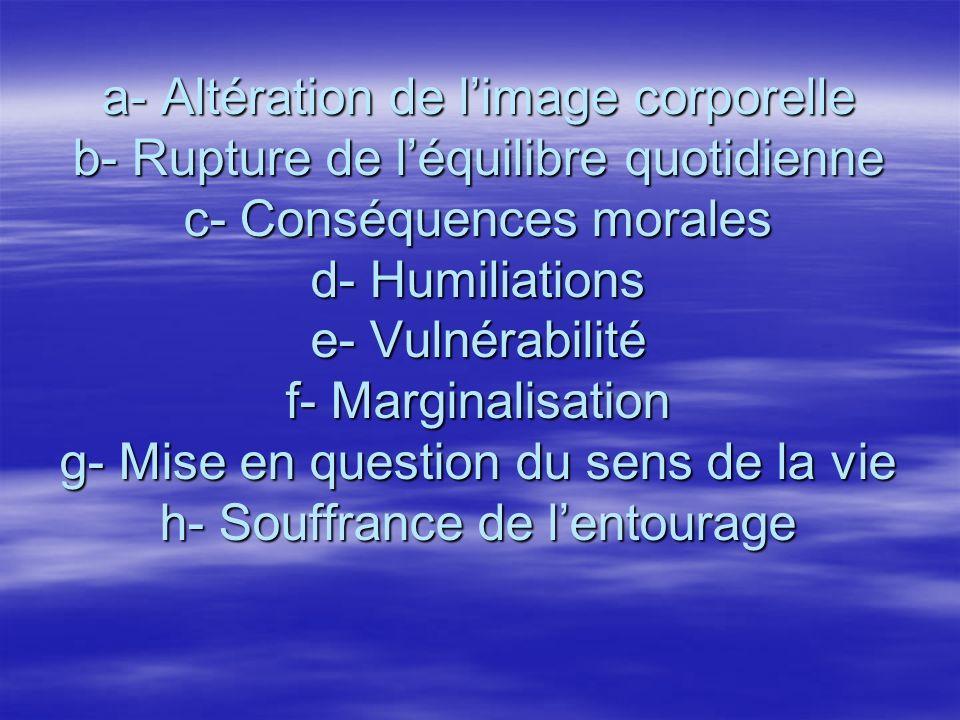 a- Altération de l'image corporelle b- Rupture de l'équilibre quotidienne c- Conséquences morales d- Humiliations e- Vulnérabilité f- Marginalisation g- Mise en question du sens de la vie h- Souffrance de l'entourage