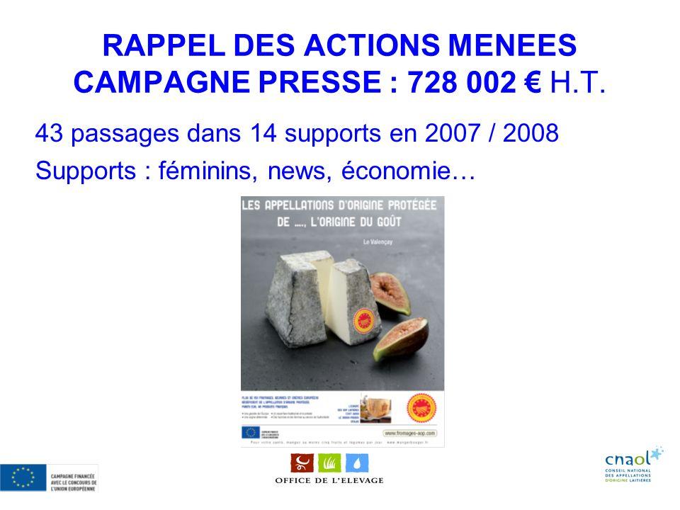 RAPPEL DES ACTIONS MENEES CAMPAGNE PRESSE : 728 002 € H.T.