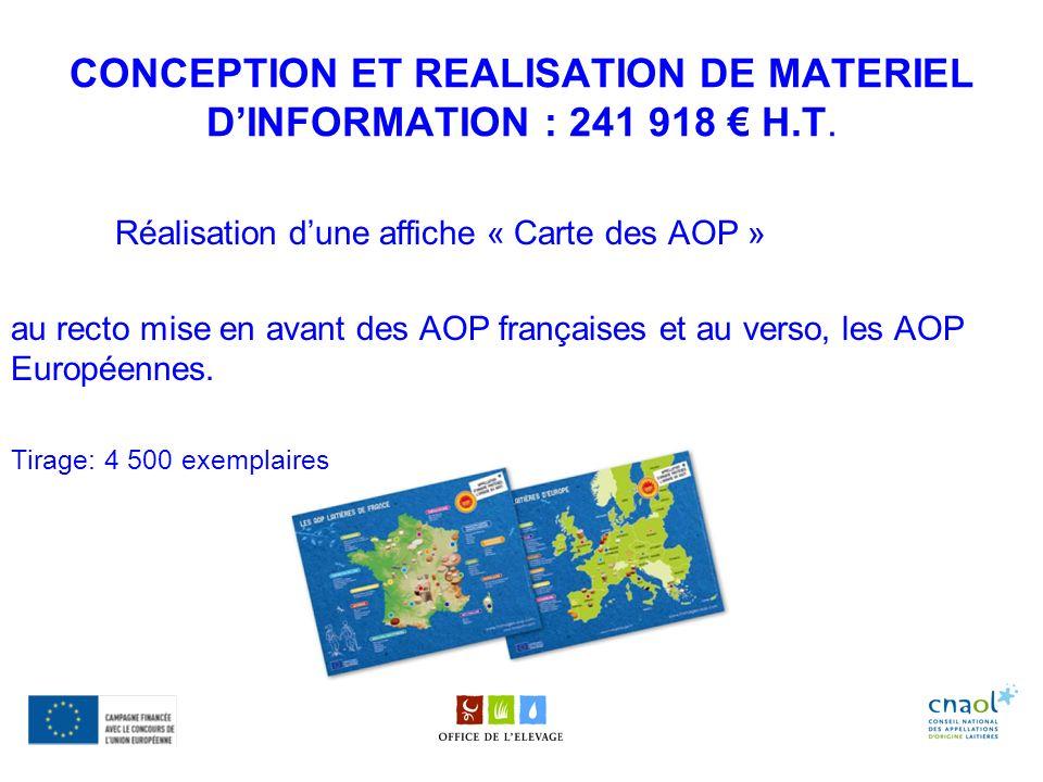CONCEPTION ET REALISATION DE MATERIEL D'INFORMATION : 241 918 € H.T.