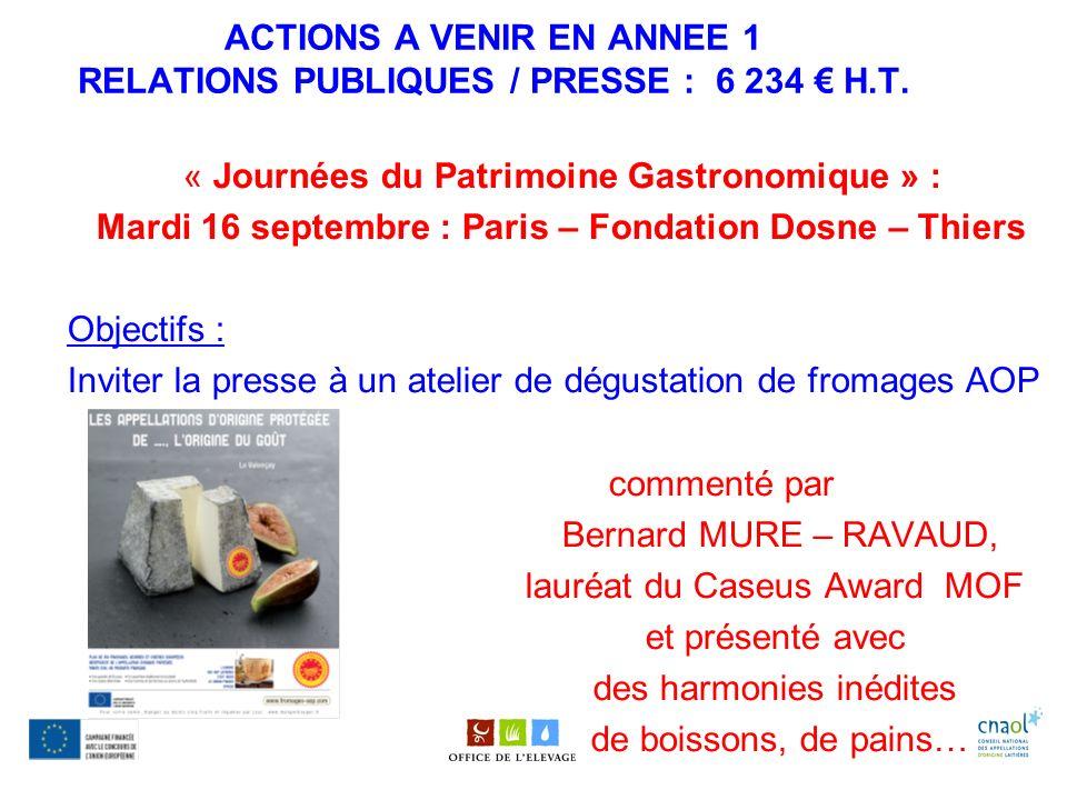 ACTIONS A VENIR EN ANNEE 1 RELATIONS PUBLIQUES / PRESSE : 6 234 € H.T.