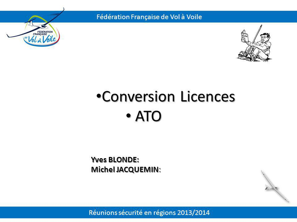 Conversion Licences ATO Yves BLONDE: Michel JACQUEMIN: