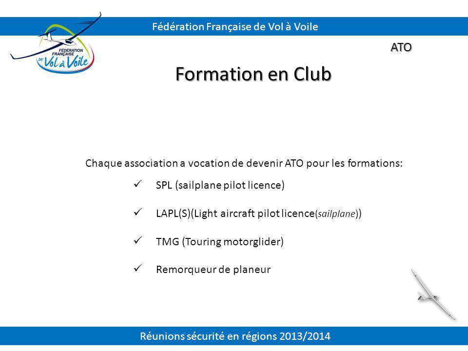 Formation en Club ATO Fédération Française de Vol à Voile