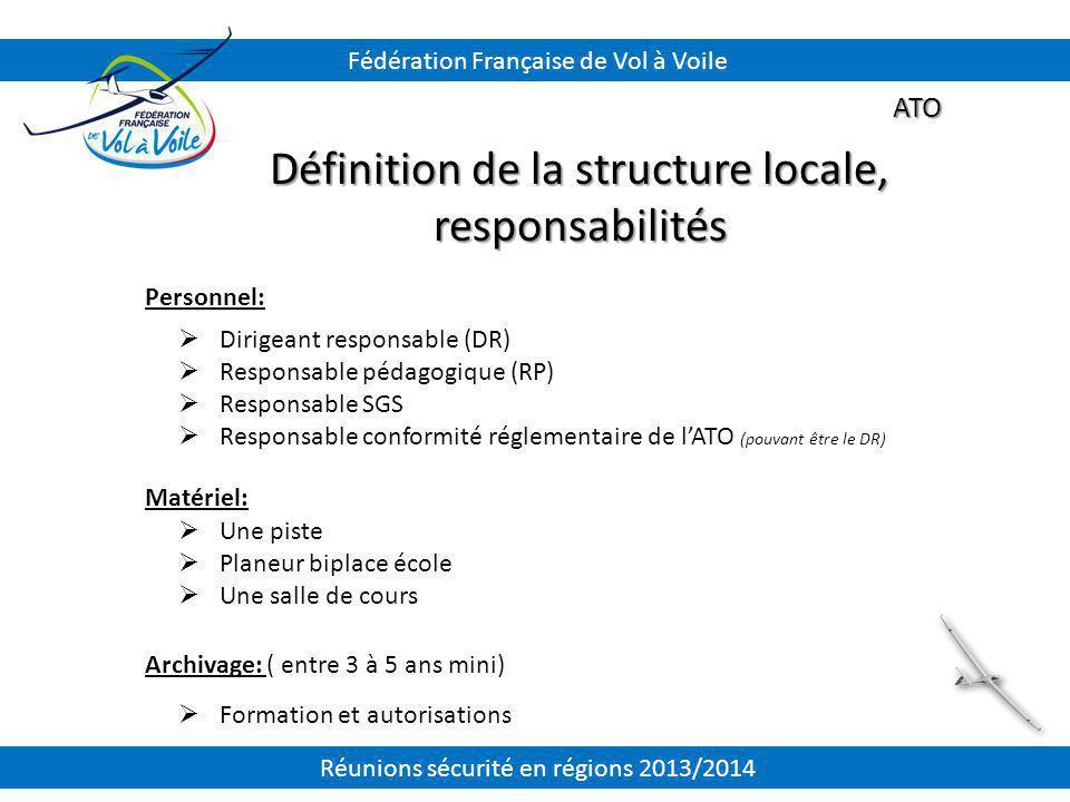 Définition de la structure locale, responsabilités