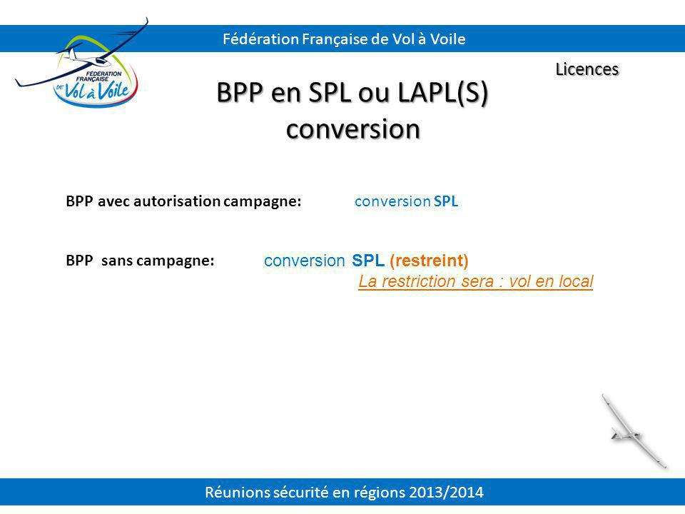 BPP en SPL ou LAPL(S) conversion Licences