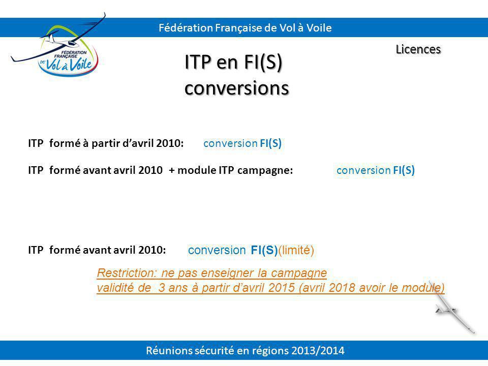 ITP en FI(S) conversions Licences Fédération Française de Vol à Voile