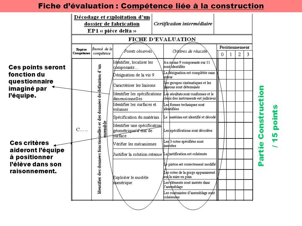 Fiche d'évaluation : Compétence liée à la construction