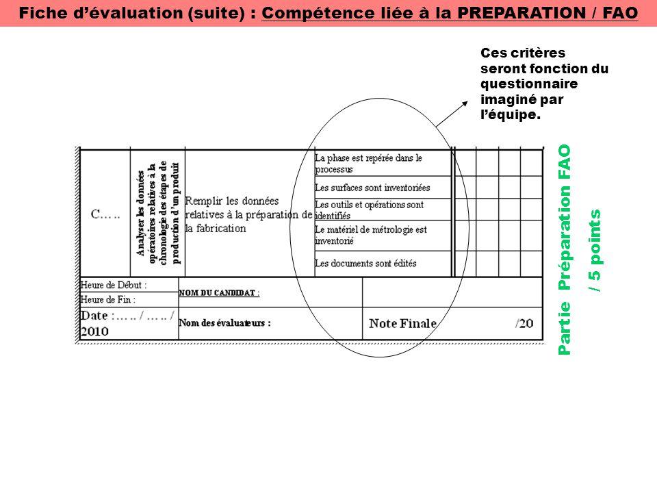 Fiche d'évaluation (suite) : Compétence liée à la PREPARATION / FAO