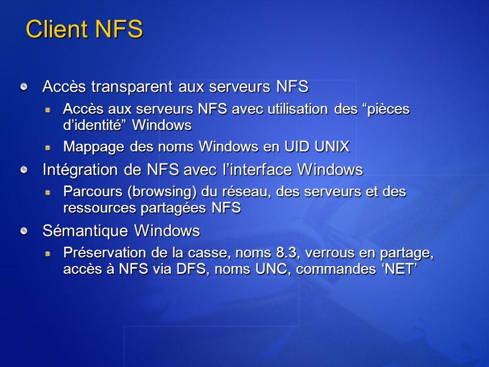 Client NFS Accès transparent aux serveurs NFS