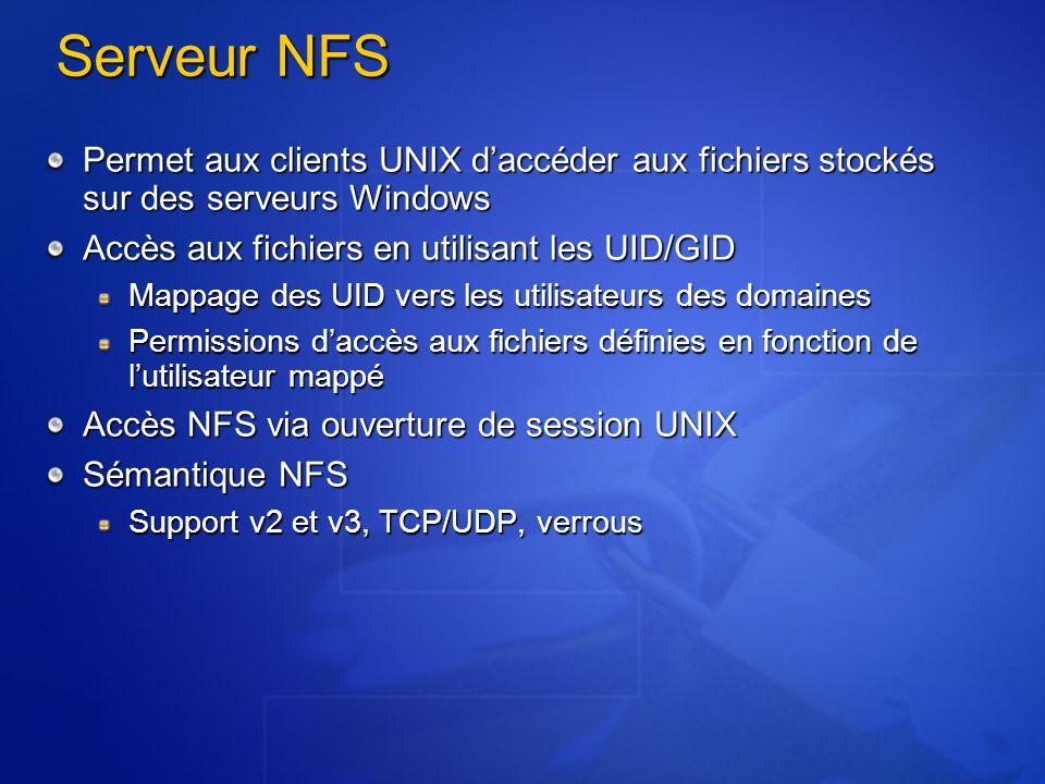 Serveur NFS Permet aux clients UNIX d'accéder aux fichiers stockés sur des serveurs Windows. Accès aux fichiers en utilisant les UID/GID.
