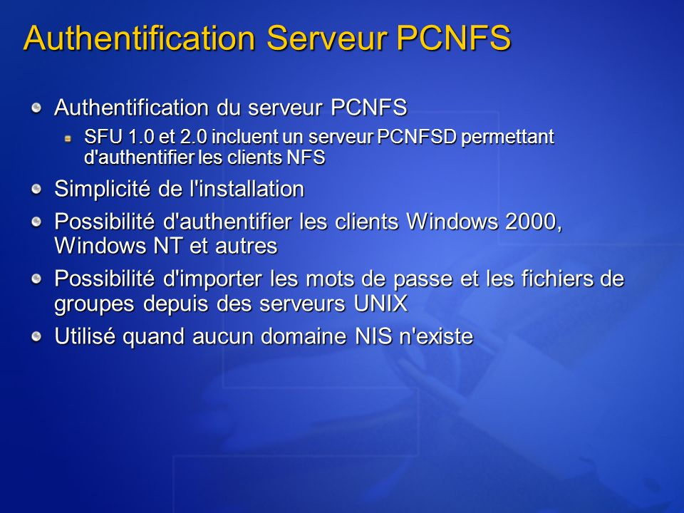 Authentification Serveur PCNFS