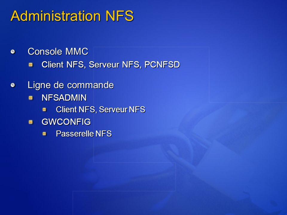 Administration NFS Console MMC Ligne de commande