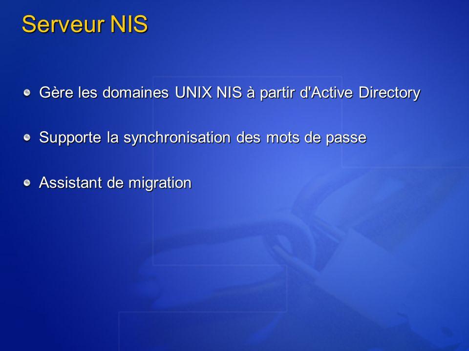 Serveur NIS Gère les domaines UNIX NIS à partir d Active Directory