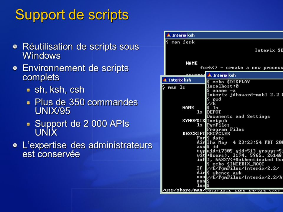 Support de scripts Réutilisation de scripts sous Windows