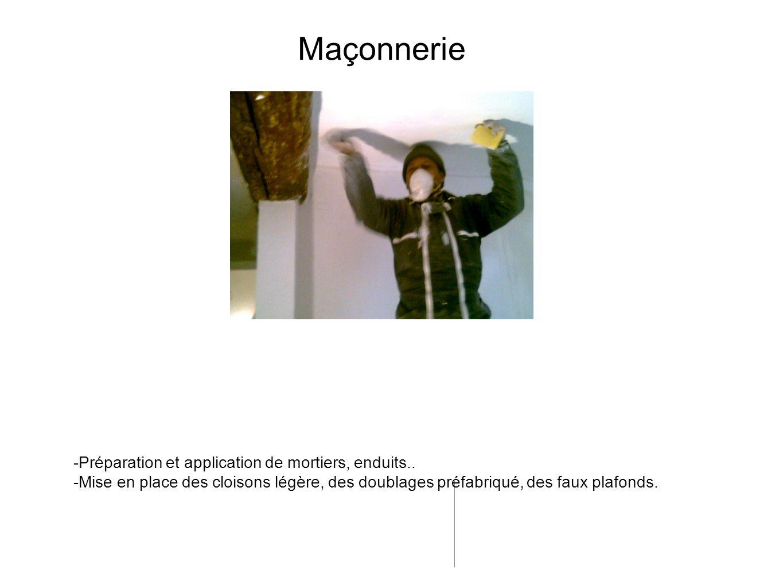 Maçonnerie -Préparation et application de mortiers, enduits..
