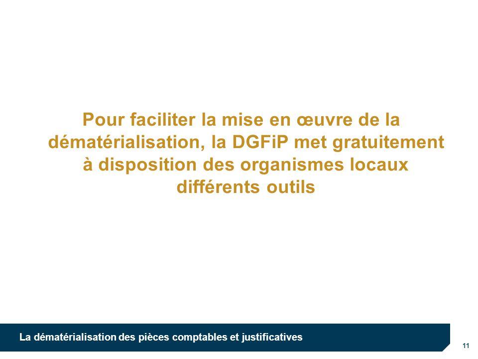 Pour faciliter la mise en œuvre de la dématérialisation, la DGFiP met gratuitement à disposition des organismes locaux différents outils