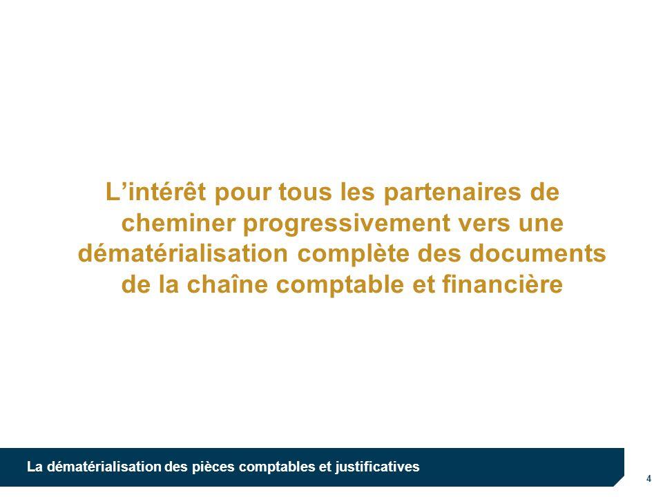L'intérêt pour tous les partenaires de cheminer progressivement vers une dématérialisation complète des documents de la chaîne comptable et financière