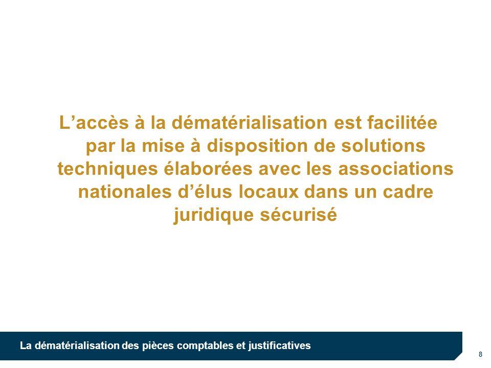 L'accès à la dématérialisation est facilitée par la mise à disposition de solutions techniques élaborées avec les associations nationales d'élus locaux dans un cadre juridique sécurisé