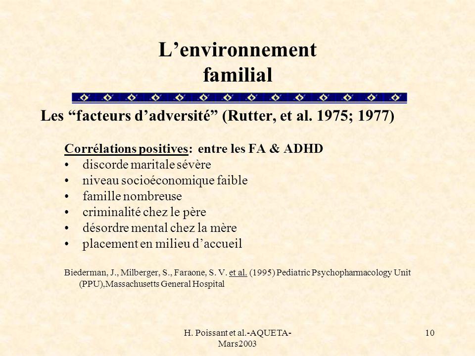 L'environnement familial