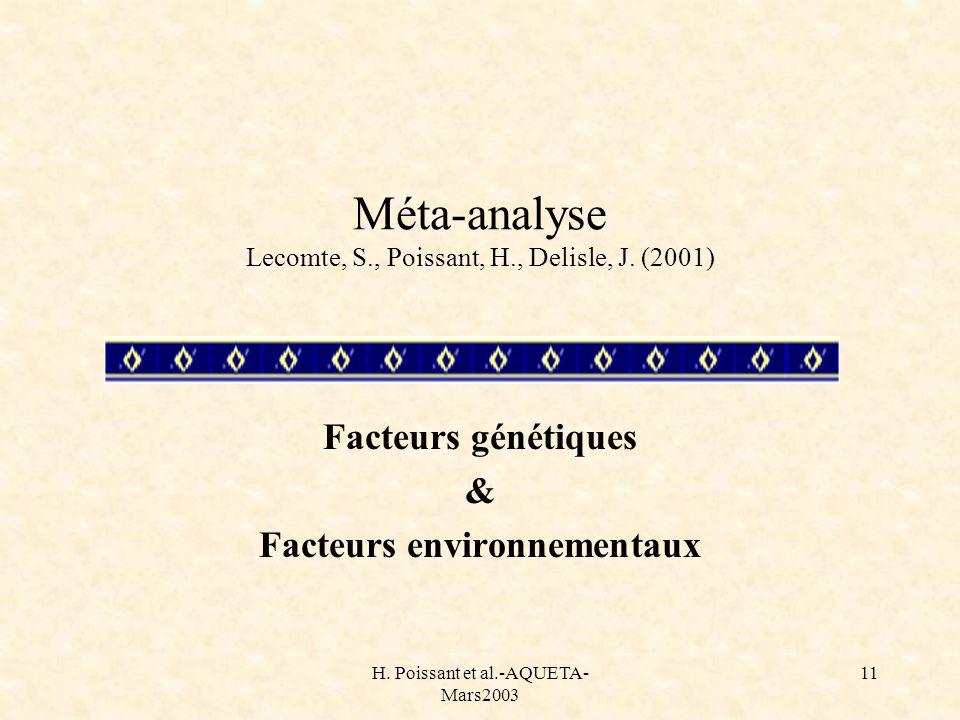 Méta-analyse Lecomte, S., Poissant, H., Delisle, J. (2001)