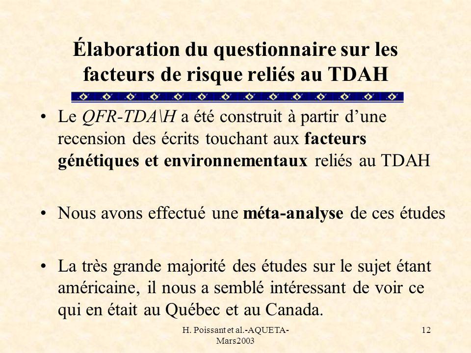 Élaboration du questionnaire sur les facteurs de risque reliés au TDAH