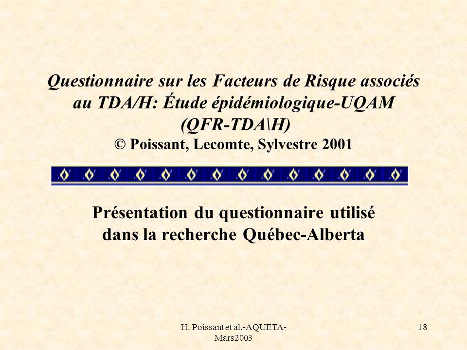 Présentation du questionnaire utilisé dans la recherche Québec-Alberta