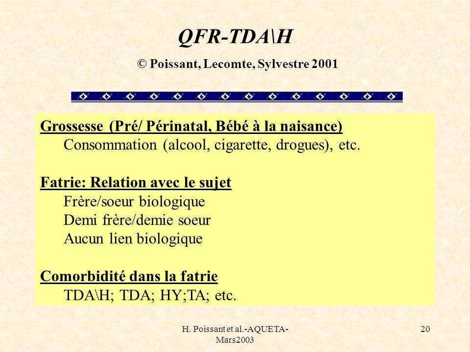 QFR-TDA\H © Poissant, Lecomte, Sylvestre 2001