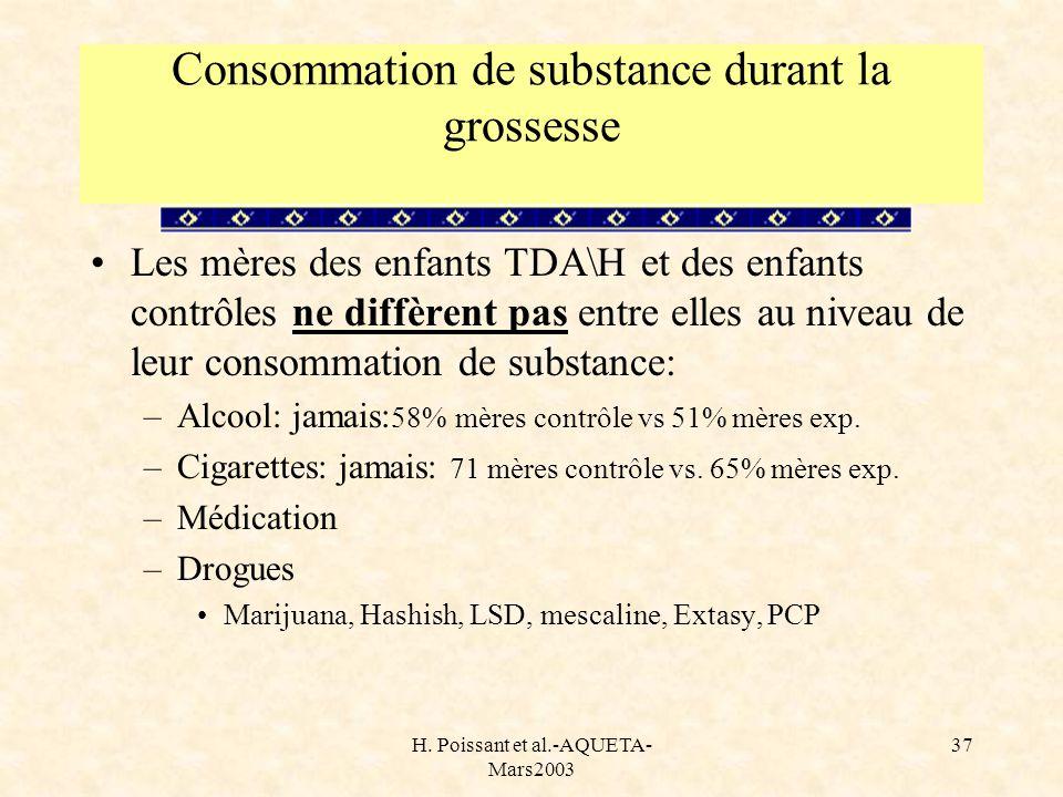 Consommation de substance durant la grossesse
