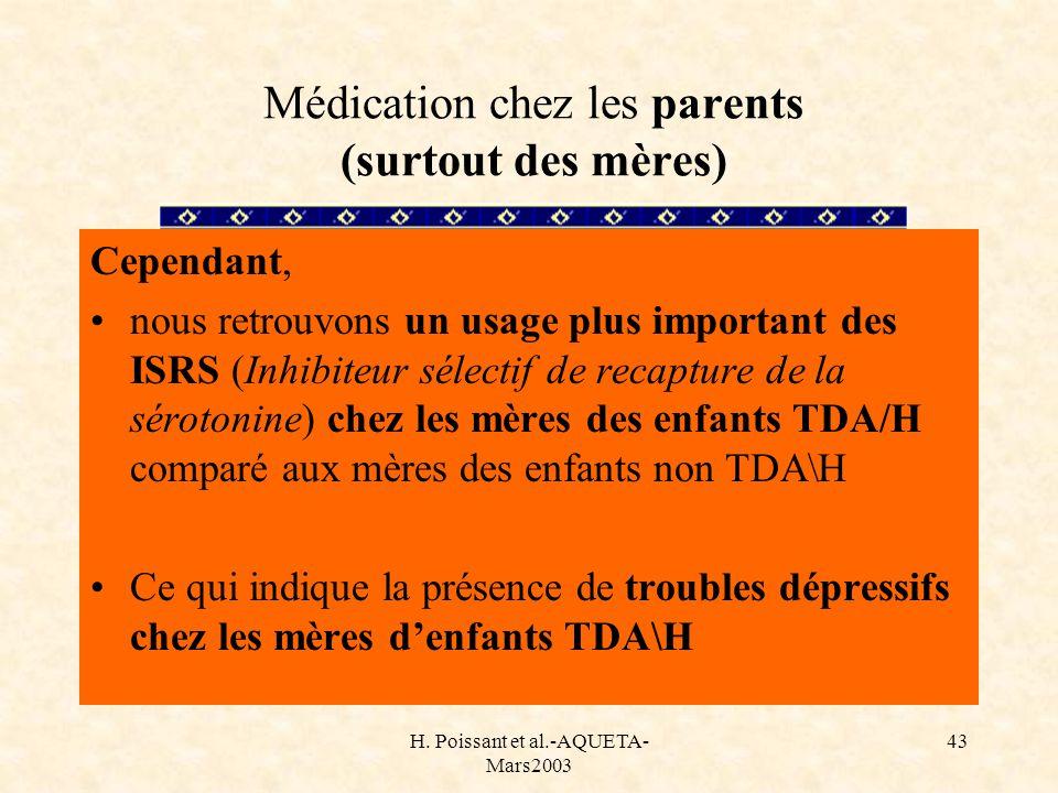 Médication chez les parents (surtout des mères)