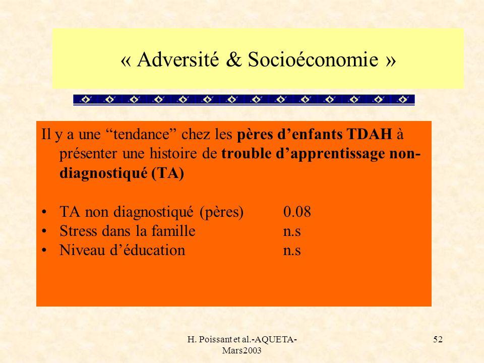 « Adversité & Socioéconomie »