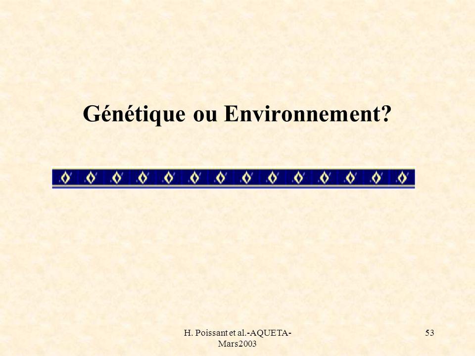 Génétique ou Environnement