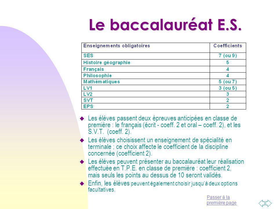 Le baccalauréat E.S.