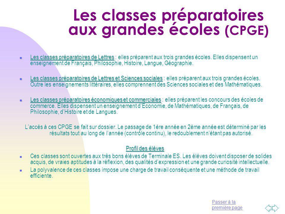 Les classes préparatoires aux grandes écoles (CPGE)