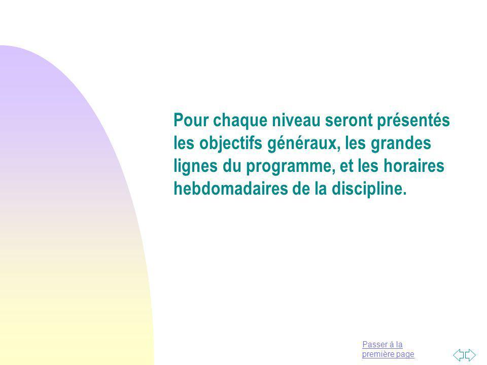 Pour chaque niveau seront présentés les objectifs généraux, les grandes lignes du programme, et les horaires hebdomadaires de la discipline.