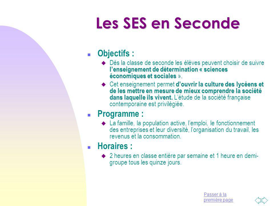 Les SES en Seconde Objectifs : Programme : Horaires :