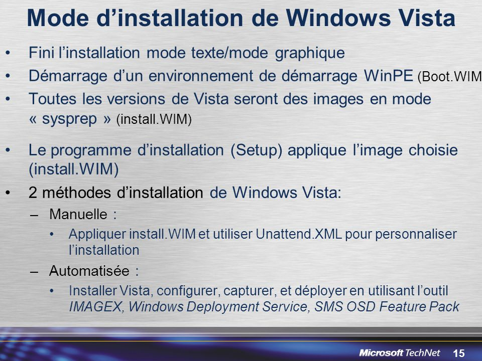 Mode d'installation de Windows Vista