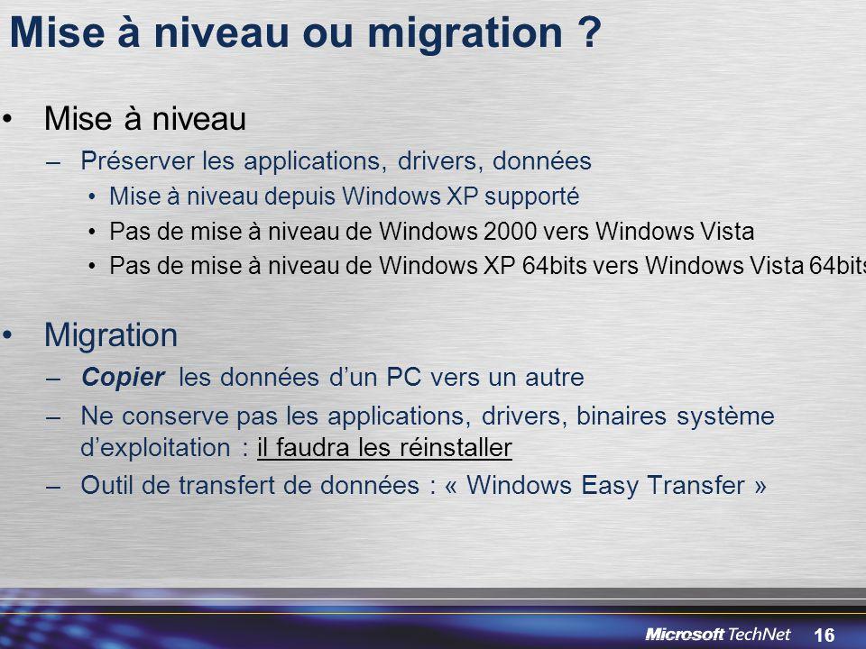 Mise à niveau ou migration