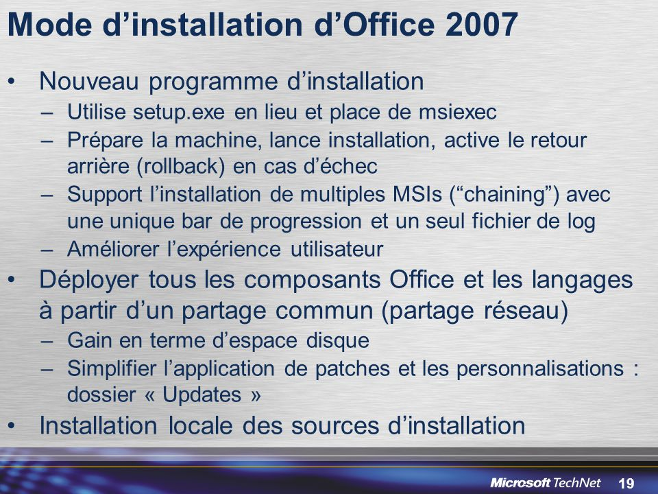 Mode d'installation d'Office 2007