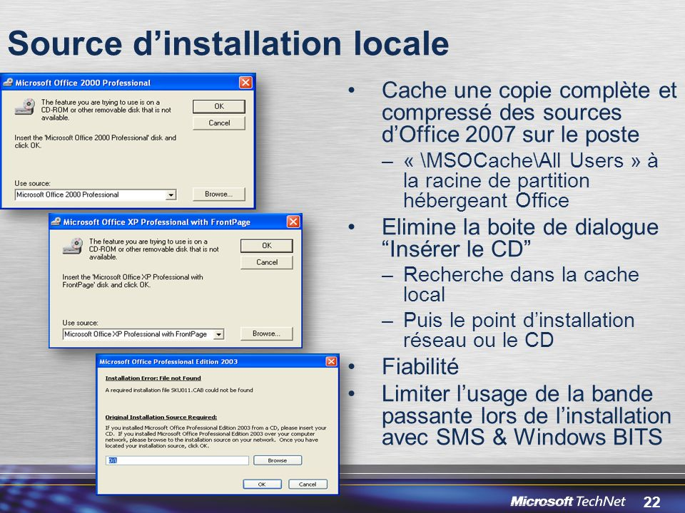 Source d'installation locale
