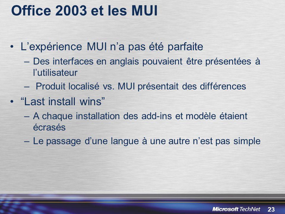 Office 2003 et les MUI L'expérience MUI n'a pas été parfaite