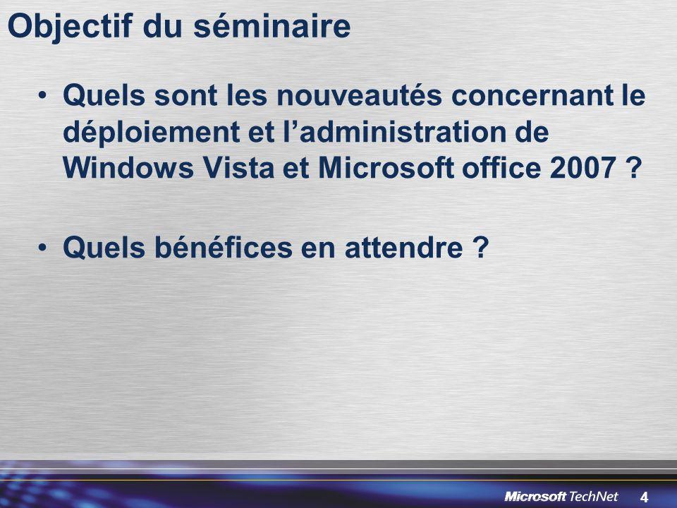 Objectif du séminaire Quels sont les nouveautés concernant le déploiement et l'administration de Windows Vista et Microsoft office 2007