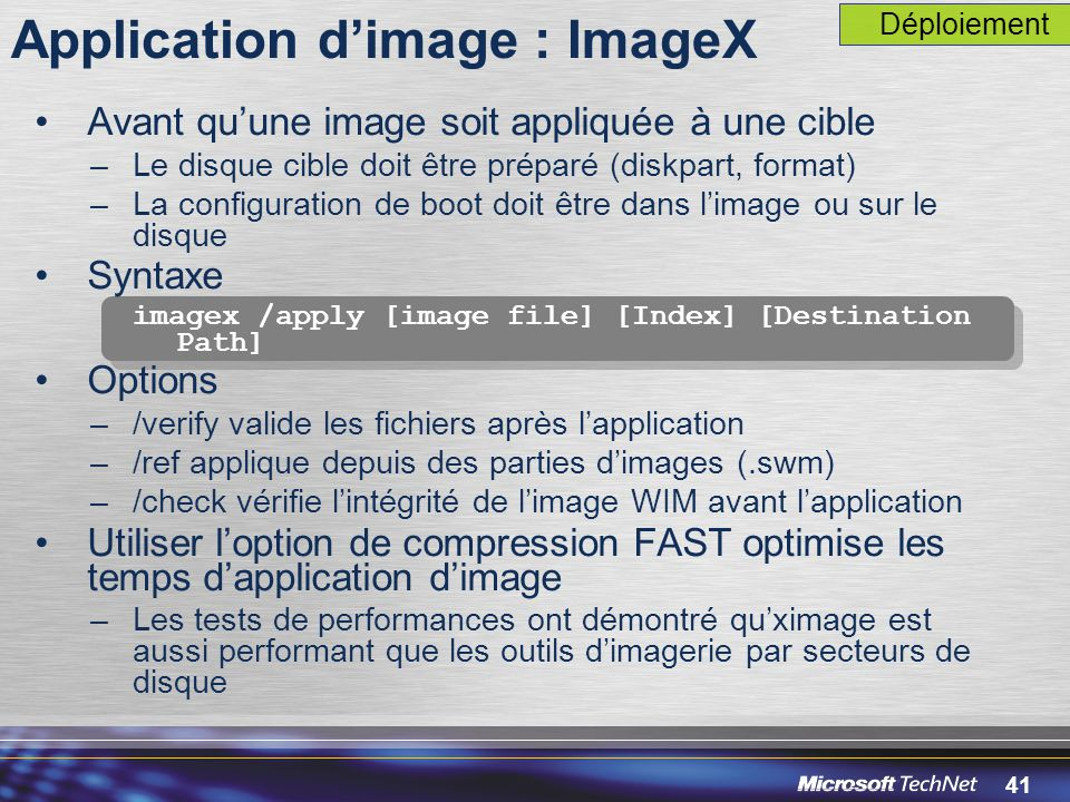 Application d'image : ImageX