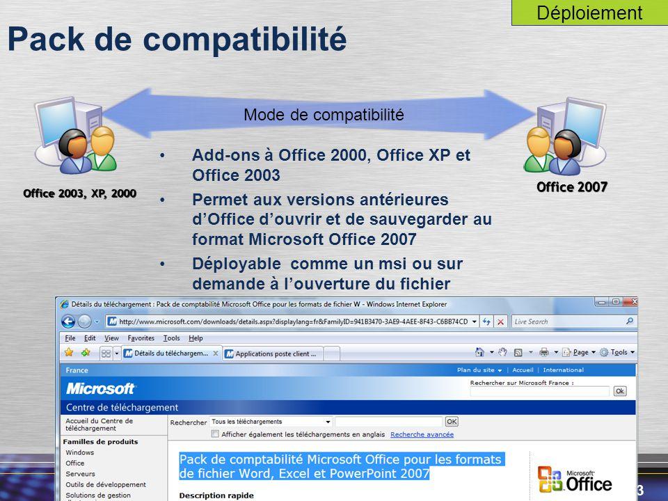 Pack de compatibilité Déploiement Mode de compatibilité